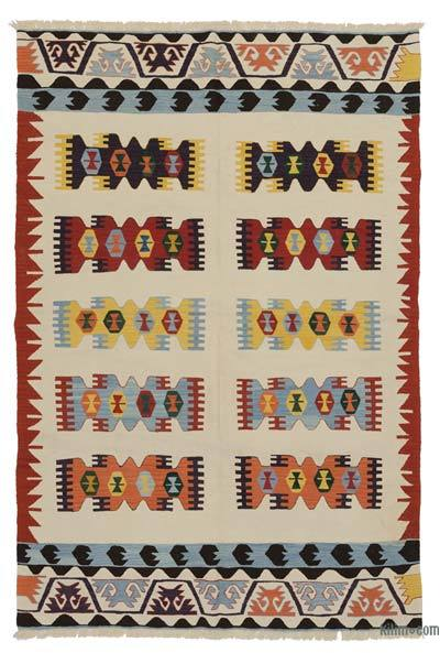 Beige, Multicolor New Turkish Kilim Rug