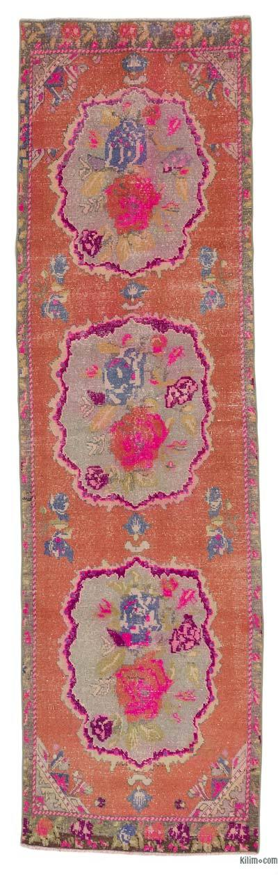 Turkish Vintage Area Rug - 4'4'' x 9'8'' (52 in. x 116 in.)