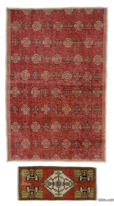 Turkish Vintage Area Rug - 4'4'' x 6'7'' (52 in. x 79 in.)