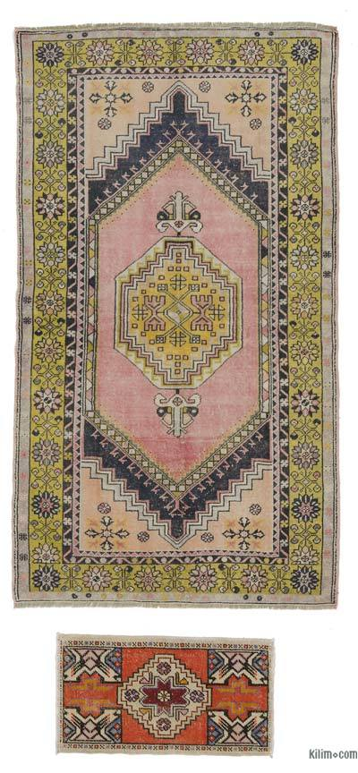 "Turkish Vintage Area Rug - 4'2"" x 7'3"" (50 in. x 87 in.)"