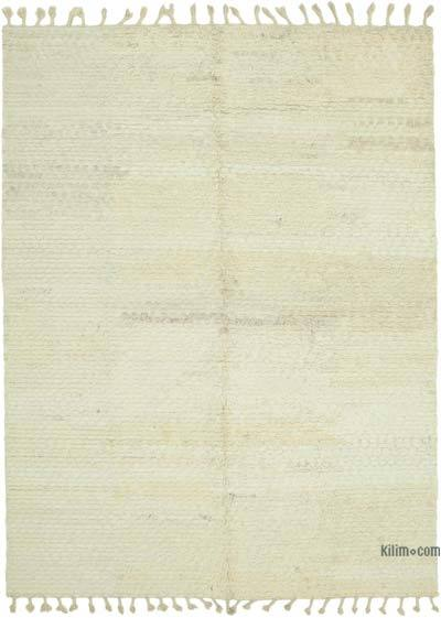 Beige New Contemporary Hand-Knotted Wool Rug