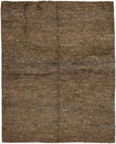 Brown New Contemporary Hand-Knotted Wool Rug
