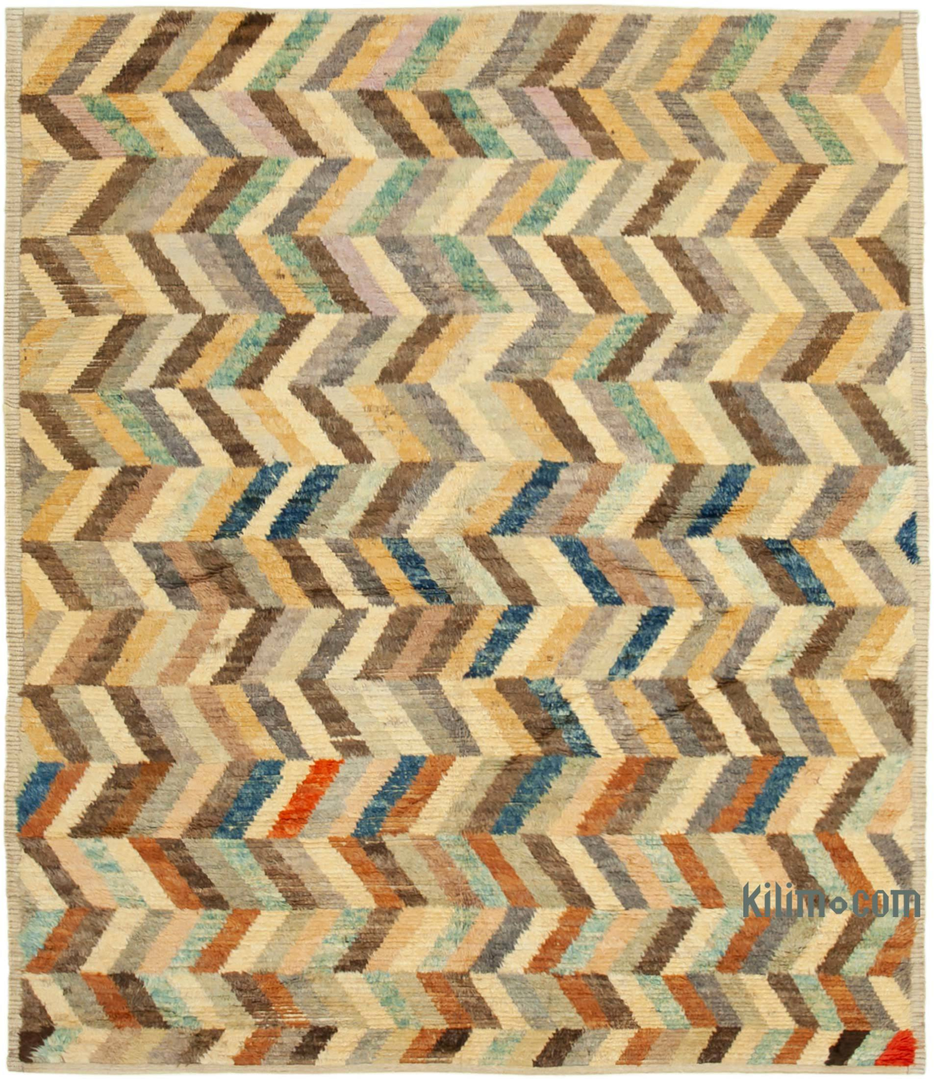 Brown Multicolor New Contemporary Hand Knotted Wool Rug