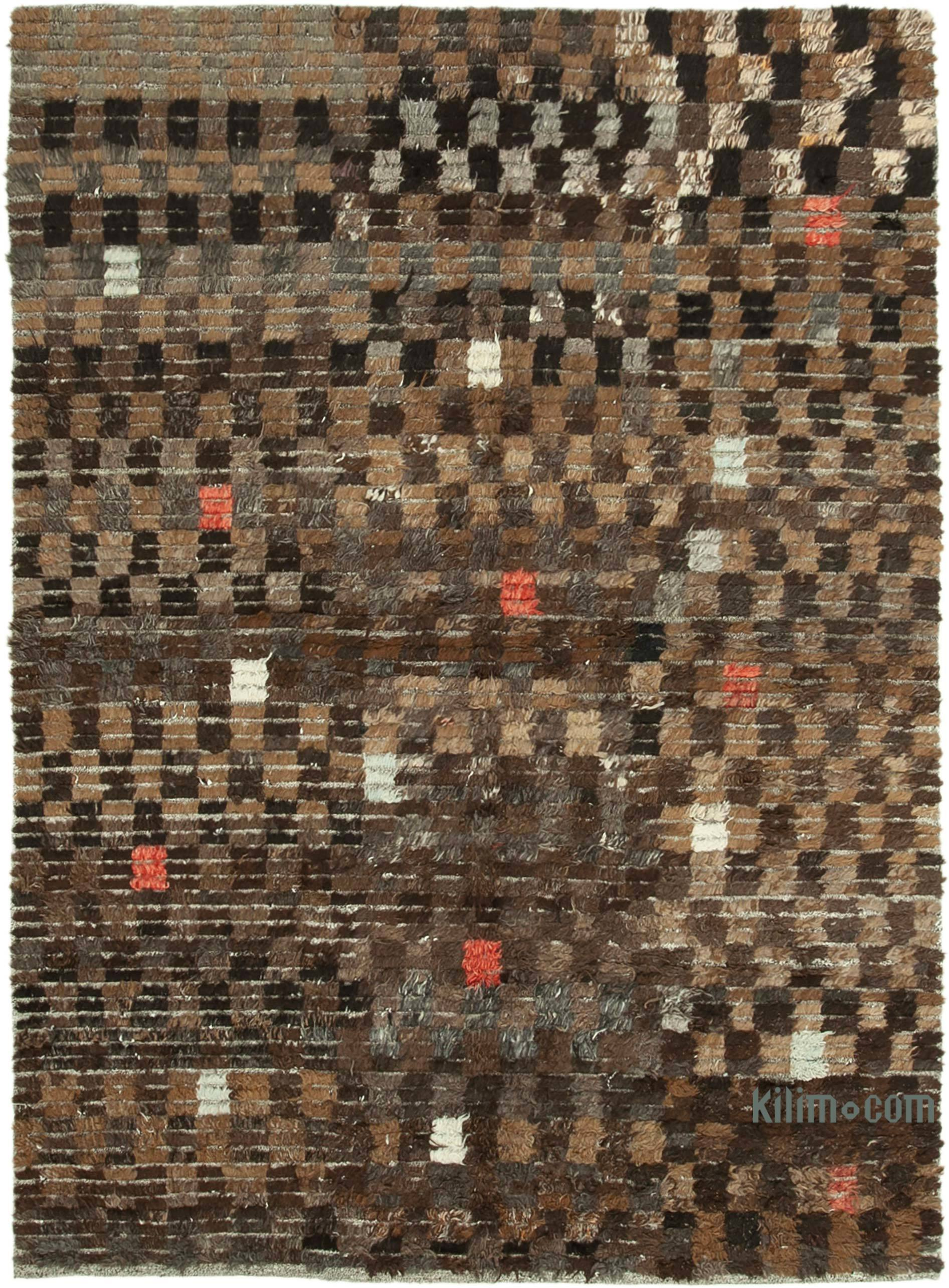 Brown New Contemporary Hand Knotted Wool Rug