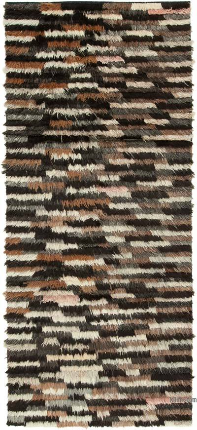 Black, Brown New Contemporary Hand-Knotted Wool Rug