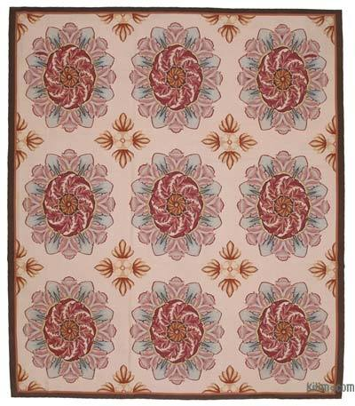 Beige Aubusson Rug - 10'1'' x 11'8'' (121 in. x 140 in.)