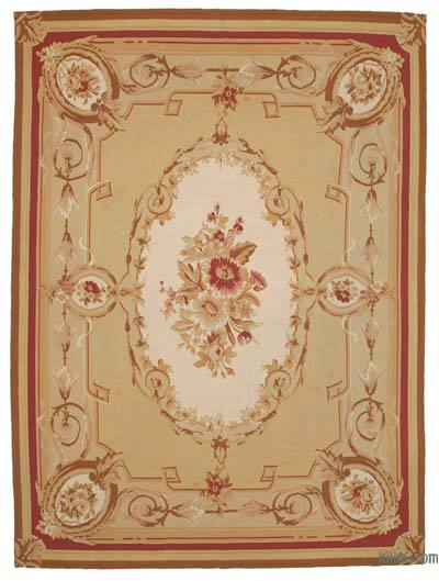 Yellow, Beige Aubusson Rug - 8'9'' x 12'2'' (105 in. x 146 in.)