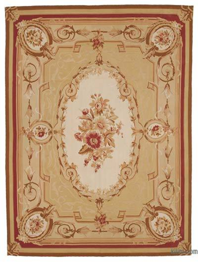 Yellow, Beige Aubusson Rug - 8'9'' x 11'9'' (105 in. x 141 in.)