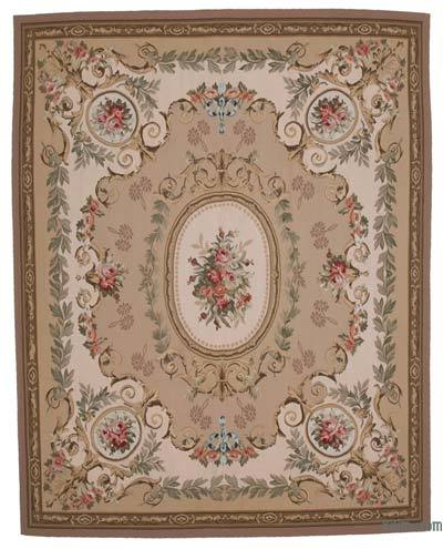 Beige Aubusson Rug - 8'8'' x 11' (104 in. x 132 in.)