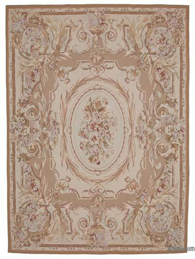 Beige, Brown Aubusson Rug - 8'10'' x 12' (106 in. x 144 in.)