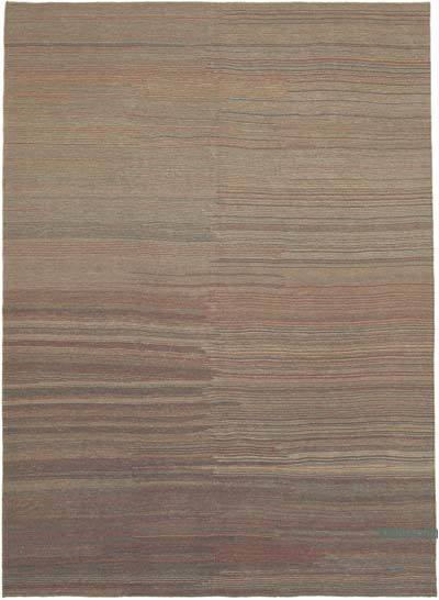 Brown New Contemporary Kilim Rug - Z Collection - 7'3'' x 9'9'' (87 in. x 117 in.)