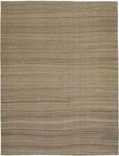 Brown New Contemporary Kilim Rug - Z Collection - 8'9'' x 11'6'' (105 in. x 138 in.)
