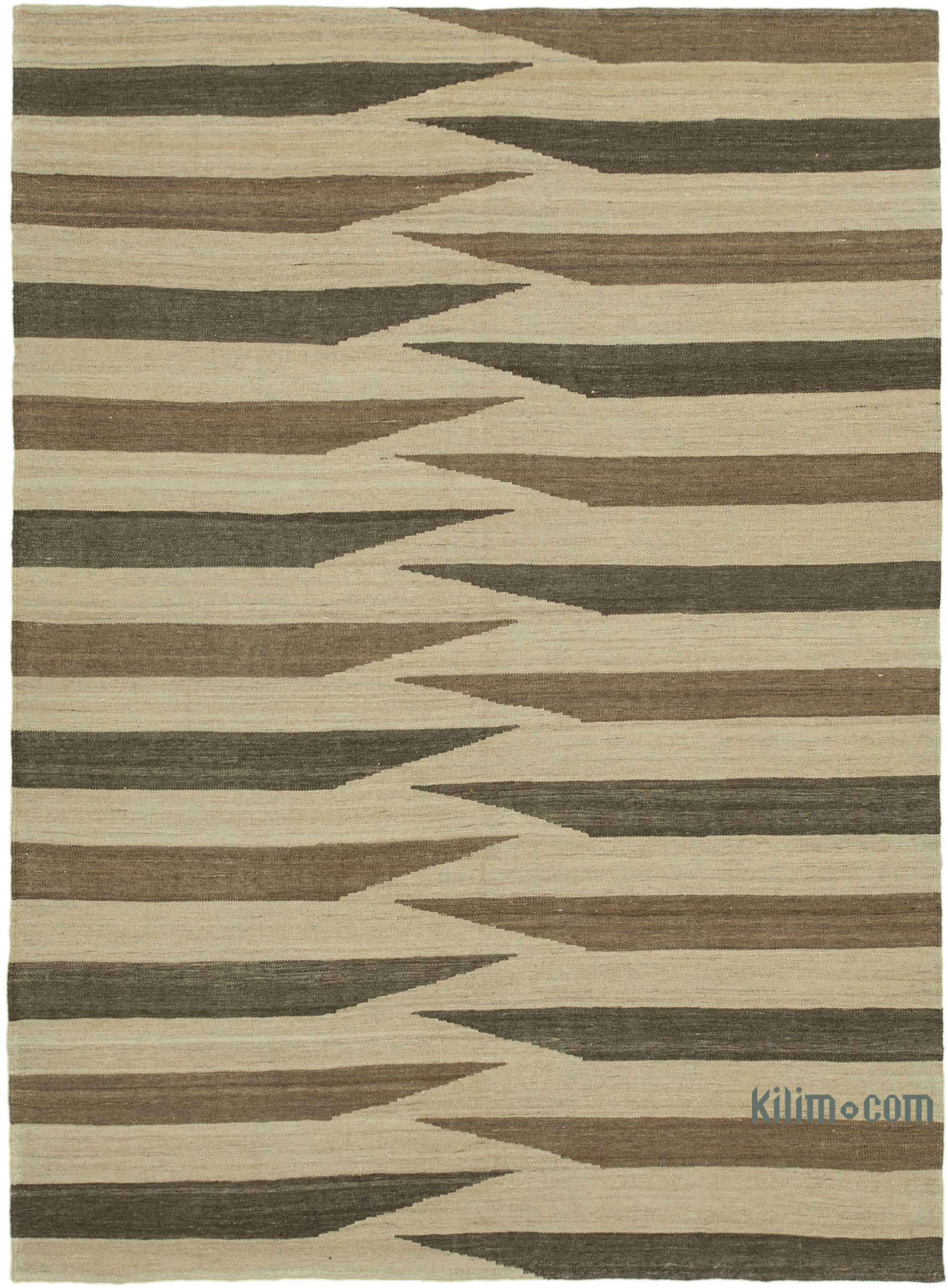Beige Brown New Contemporary Kilim Rug Z Collection 5 9 X 7 9 69 In X 93 In