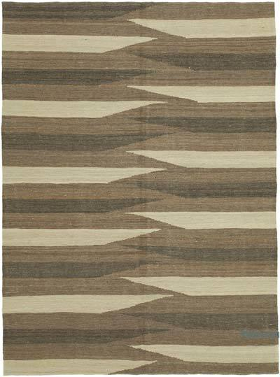 Brown, Beige New Contemporary Kilim Rug - Z Collection - 5'10'' x 7'10'' (70 in. x 94 in.)