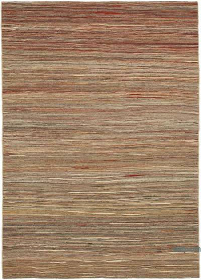 Brown New Contemporary Kilim Rug - Z Collection - 5'8'' x 7'11'' (68 in. x 95 in.)