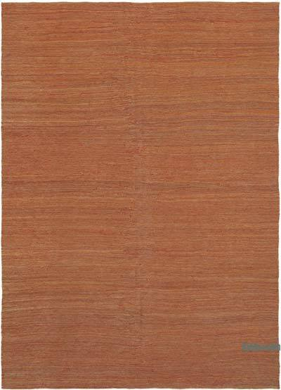 Orange New Contemporary Kilim Rug - Z Collection - 6'11'' x 9'7'' (83 in. x 115 in.)