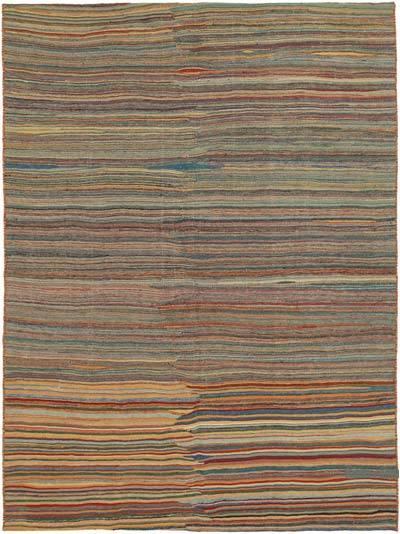 Brown New Contemporary Kilim Rug - Z Collection - 6'8'' x 8'11'' (80 in. x 107 in.)