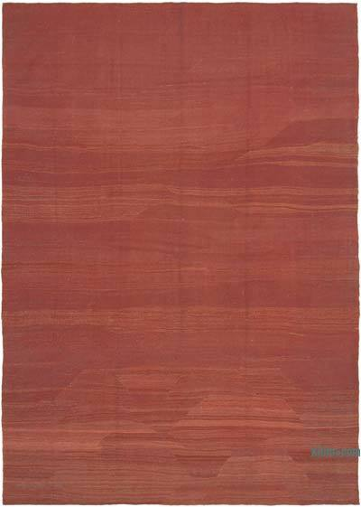 Red New Contemporary Kilim Rug - Z Collection - 6'8'' x 9'4'' (80 in. x 112 in.)