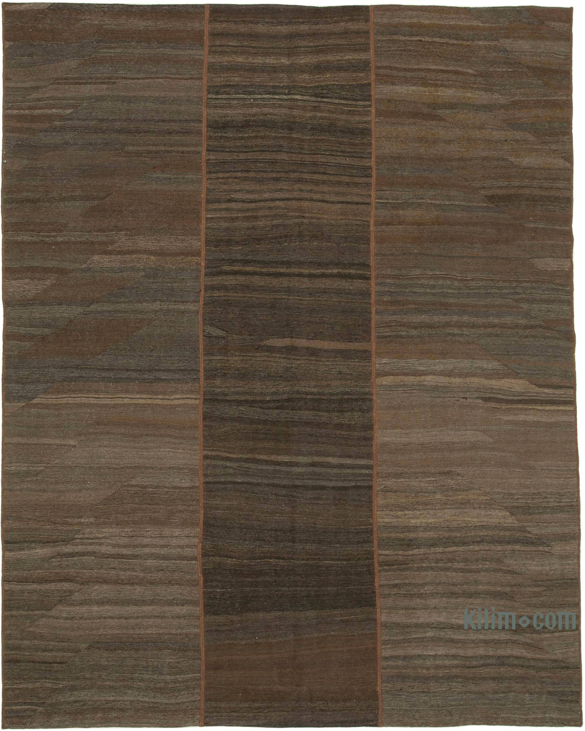 Brown New Contemporary Kilim Rug Z Collection 7 3 X 10 2 87 In X 122 In