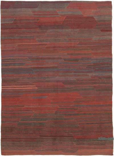 Red, Blue New Contemporary Kilim Rug - Z Collection - 6'11'' x 9'7'' (83 in. x 115 in.)