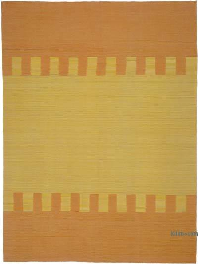 Orange, Yellow New Contemporary Kilim Rug - Z Collection - 7'1'' x 9'5'' (85 in. x 113 in.)
