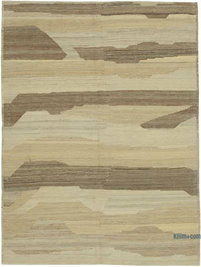 Beige, Brown New Contemporary Kilim Rug - Z Collection - 4'11'' x 6'6'' (59 in. x 78 in.)