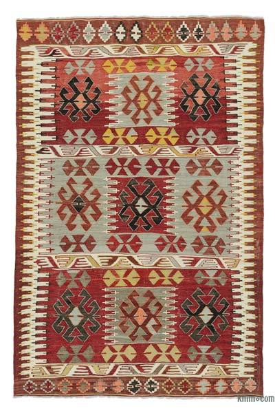 Red, Light Blue Vintage Cal Kilim Rug