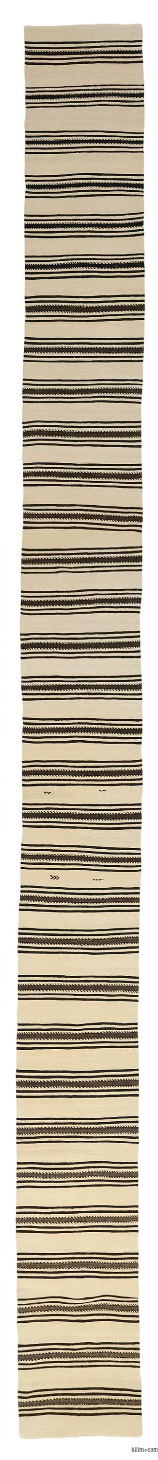 Beige, Black Vintage Turkish Kilim Runner
