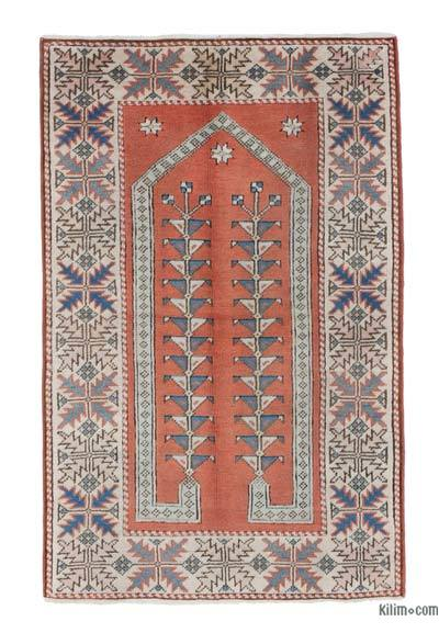 Beige, Orange New Hand Knotted Anatolian Rug - 2'9'' x 4'4'' (33 in. x 52 in.)