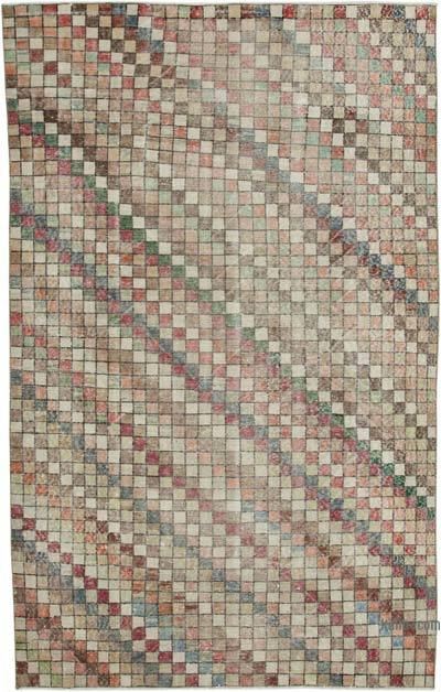 Beige, Multicolor Turkish Vintage Rug - 5'6'' x 8'10'' (66 in. x 106 in.)