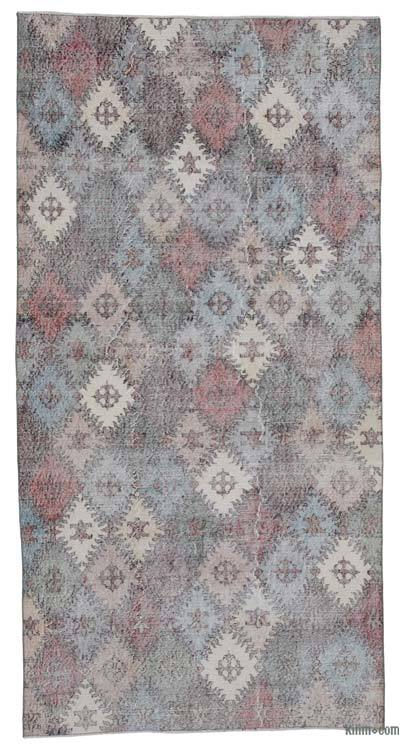 Beige, Multicolor Turkish Vintage Rug - 4'6'' x 8'9'' (54 in. x 105 in.)