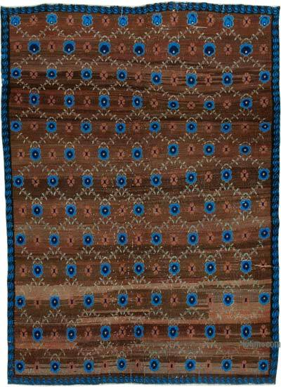 Brown, Blue Turkish Vintage Rug - 6' x 8'6'' (72 in. x 102 in.)