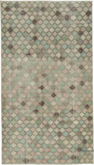 Beige, Multicolor Turkish Vintage Rug - 5'4'' x 9'7'' (64 in. x 115 in.)