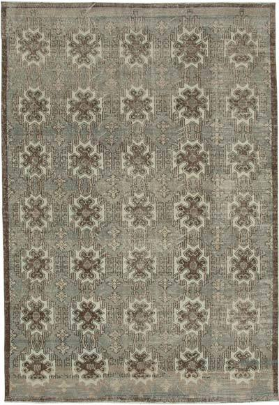 Brown, Beige Turkish Vintage Rug - 6'10'' x 9'11'' (82 in. x 119 in.)