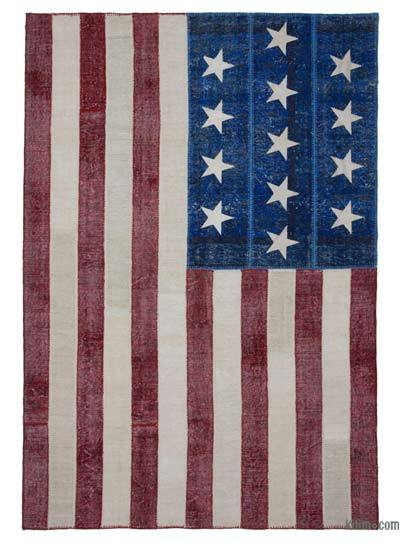 "Patchwork US Flag Rug - 6'10"" x 10' (82 in. x 120 in.)"