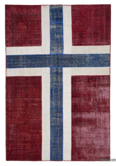 "Patchwork Norwegian Flag Rug - 6'7"" x 9'9"" (79 in. x 117 in.)"