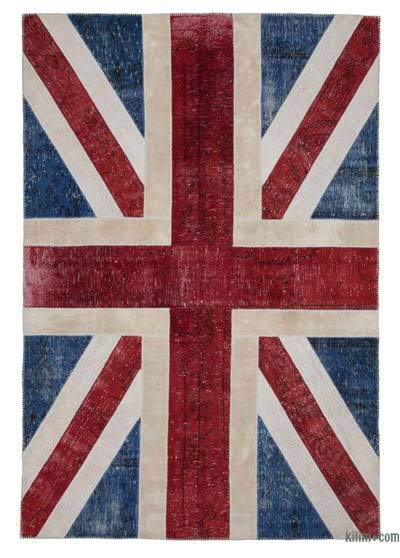 "Patchwork British Flag Rug - 6'8"" x 9'11"" (80 in. x 119 in.)"