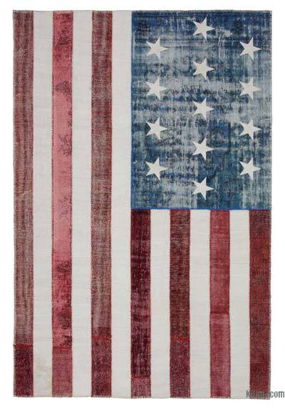 Patchwork US Flag Rug - 6'7'' x 9'10'' (79 in. x 118 in.)
