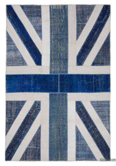 Blue Patchwork British Flag Rug - 6'7'' x 9'11'' (79 in. x 119 in.)