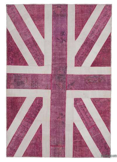 "Patchwork British Flag Rug - 6'10"" x 10' (82 in. x 120 in.)"