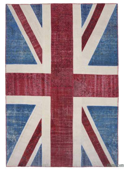 "Patchwork British Flag Rug - 6'8"" x 9'8"" (80 in. x 116 in.)"