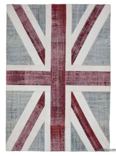 Blue, Red Patchwork British Flag Rug - 6'8'' x 9'8'' (80 in. x 116 in.)