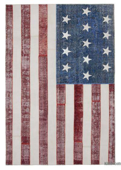"Patchwork US Flag Rug - 6'8"" x 9'10"" (80 in. x 118 in.)"