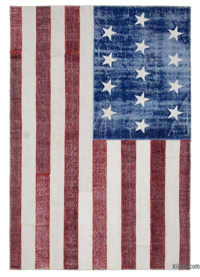 Multicolor Patchwork US Flag Rug - 6'8'' x 9'10'' (80 in. x 118 in.)