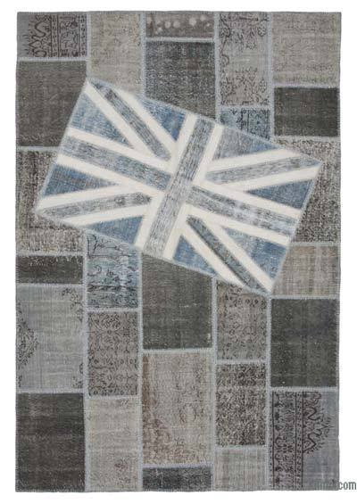 Patchwork British Flag Rug - 6'7'' x 9'11'' (79 in. x 119 in.)