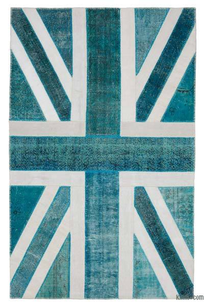 "Patchwork British Flag Rug - 6'4"" x 10' (76 in. x 120 in.)"