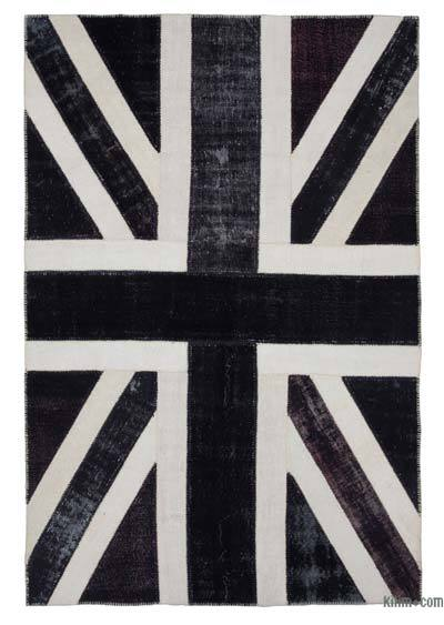 Multicolor Patchwork British Flag Rug - 6'8'' x 9'11'' (80 in. x 119 in.)