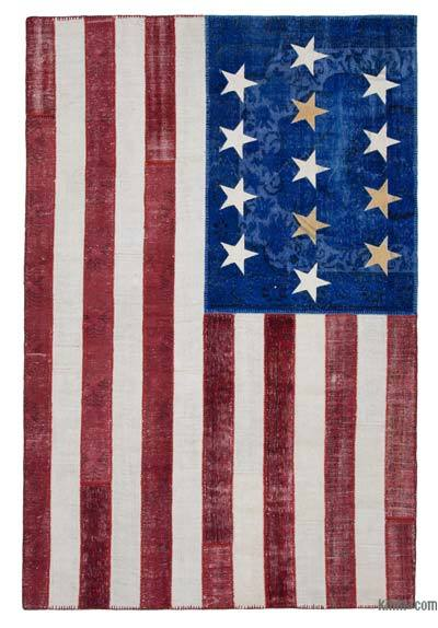 "Patchwork US Flag Rug - 6'6"" x 9'11"" (78 in. x 119 in.)"