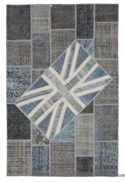 "Patchwork British Flag Rug - 6'7"" x 10'1"" (79 in. x 121 in.)"