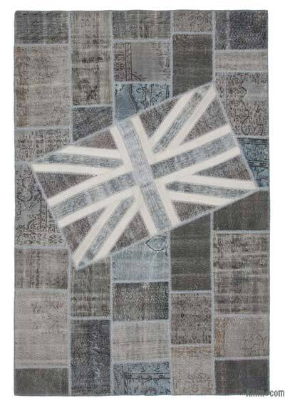 Grey Patchwork British Flag Rug - 6'6'' x 9'10'' (78 in. x 118 in.)